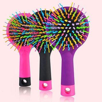 Toner Depot Rainbow Volume S Brush Detangling Hair Brush Multi Color with Mirror