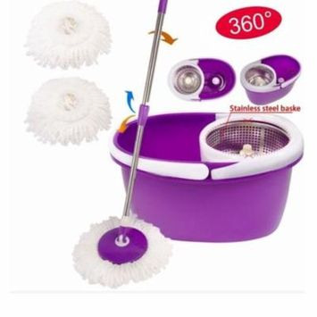 Ktaxon 360Rotating Magic Cleaning Mop Stainless Steel Dehydrate Basket With Wringer,2 Heads
