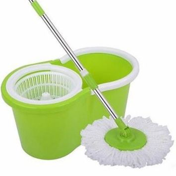 Ktaxon Magic Mop - Easy Spin Press Mop Bucket Set - 360° Rotation Push & Pull - Liquid Drain Hole - Easy Wring with Reusable Mop Heads - Non Pedal Green
