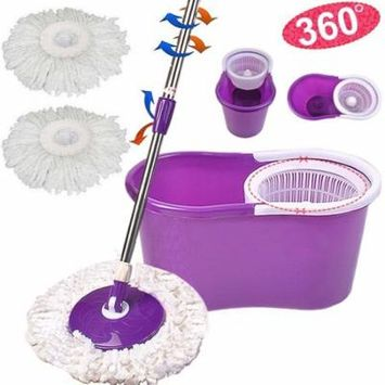 Ktaxon Purple Magic Spin Mop - Easy Press Mop Bucket Set - 360° Rotation Push & Pull - Liquid Drain Hole - Easy Wring with Reusable Mop Heads - Non Pedal