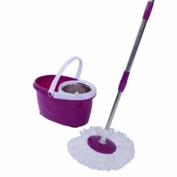 Ktaxon Upgrade 360 Easy Wring Spin Mop and Stainless Steel Bucket System Includes 2 Free Microfiber Mop Heads purple