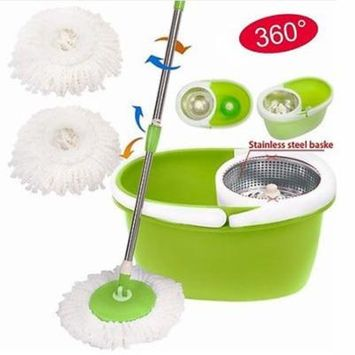 Ktaxon New 360 Easy Wring Spin Mop and Stainless Steel Bucket System Includes 2 Free Microfiber Mop Heads green