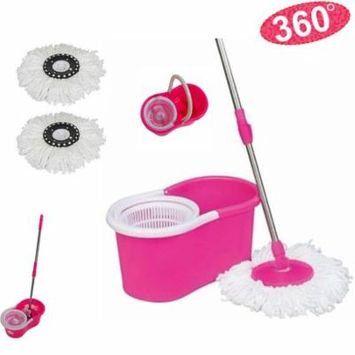 Ktaxon 360°Deluxe Spin Magic Mop & Bucket Household Cleaning Supplies Purple/Pink