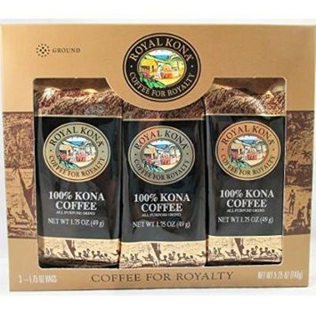 Royal Kona 100% Kona Coffee Ground Single Pot Gift Pack (3 X 1.75 Oz., 49g)
