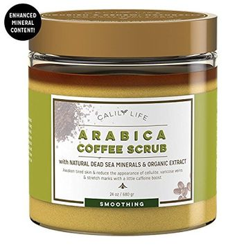 Calily Life Organic Arabica Coffee Scrub with Dead Sea Minerals, 24 Oz. – Helps for Wrinkles, Stretch Marks, etc. - Deep Hydrating, Exfoliating and Cleansing - Achieve Smooth and Firm Skin [ENHANCED]