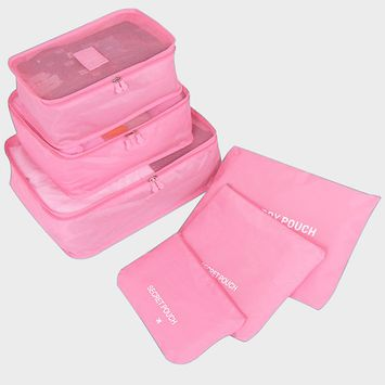 6Pcs Clothes Organizer Home Shoe Storage Bag Makeup Pouch Luggage Packing for Travel(Pink)