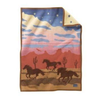 Pendleton Unisex Jacquard Muchacho Kids Blanket Wild Horses One Size