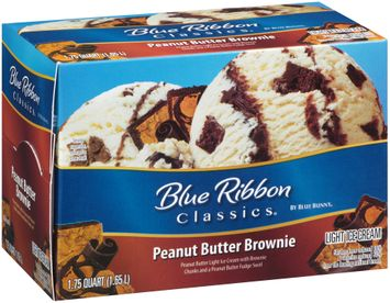 Blue Ribbon Classics® Peanut Butter Brownie Light Ice Cream 1.75 qt. Carton