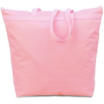 600 Denier Polyester Large Tote - Light Pink (Units per case: 48)