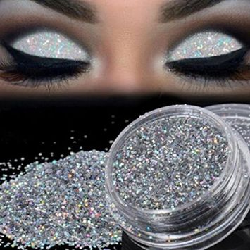 Glitter Loose Makeup Eye Shadow Dust Powder, FirstFly Shimmer Metallic Eyeshadow Silver Pigment Sparkly Party Cosmetic