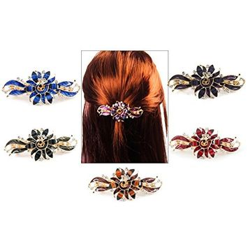 Yeshan Gold Tone Metal French Clip Faux Crystal and Rhinestone Inlaid Hair clip Barrette,Blue