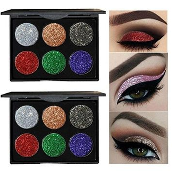 Shimmer Eyeshadow, FirstFly 6 Colors Metallic Glitter Eye Shadow Palette Highly Pigmented Mineral Cosmetic Makeup Eyeshadow