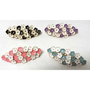 Vintage Great Gatsby Flapper Inspired Handmade Crystal Rhinestone Encrusted Leaf Flower Design Fashion Jewelry Hair Clip Pin Barrette -Mix Color 4 AOSTEK(TM)