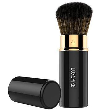 Luxspire Retractable Makeup Blush Brushes, Professional Single Handle Kabuki Brush Soft Face Mineral Powder Foundation Blush Brush Cosmetics Make Up Tool, Black & Rose G