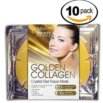 Gold Collagen Skin Facial Mask - 10 Pcs 24k Gold Facial Mask Moisturizer Hydrating Face Patches Anti Aging Acne Dry Skin Protection , Rejuvenate Your Skin By Scuddles 10 Packs