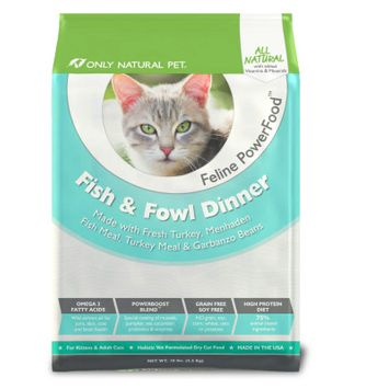 Only Natural Pet PowerFood Fish+Fowl Dry Cat Food 10 lb