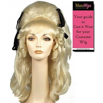 60s Vamp Beehive Color Brown - Lacey Wigs Women's Large Rockabilly with Ribbons Cramps B56 Bundle with MaxWigs Costume Wig Care Guide