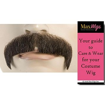 M1 Villain Mustache Color Lt Brown Grey - Lacey Wigs Synthetic Turned Down Lace Backed Hand Made Facial Bundle with MaxWigs Costume Wig Care Guide