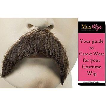 Walrus Mustache Color BROWN - Lacey Wigs Synthetic Roosevelt Stalin Cowboy Lace Backed Hand Made Facial Bundle with MaxWigs Costume Wig Care Guide