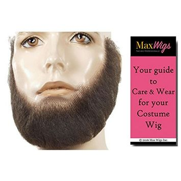 M Full Face Beard Color Strawberry Blonde - Lacey Wigs Synthetic Lace Backed Hand Made Fake Facial Bundle with MaxWigs Costume Wig Care Guide