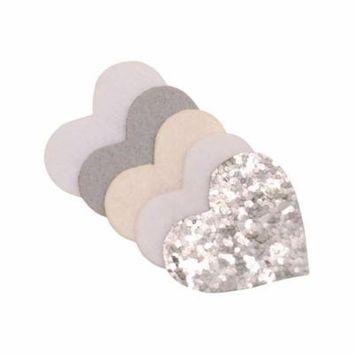 Girls Cream Silver Glitter Sequin Adorned Heart Alligator Hair Clippie