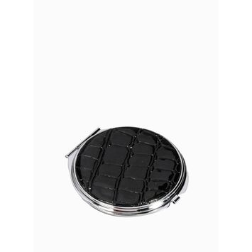 Black Crocodile Leather Round Compact Mirror