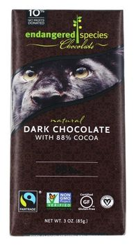 Endangered Species - Extreme Dark Chocolate 88% Cocoa - 3 oz(pack of 4)