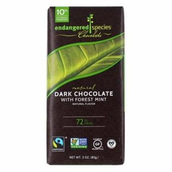 Endangered Species - Dark Chocolate Bar with Deep Forest Mint 72% Cocoa - 3 oz (pack of 4)