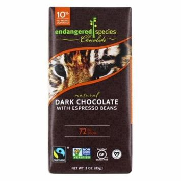 Endangered Species - Dark Chocolate Bar with Espresso Beans 72% Cocoa - 3 oz (pack of 4)