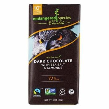Endangered Species - Dark Chocolate Bar with Sea Salt & Almonds 72% Cocao - 3 oz(pack of 12)