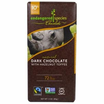 Endangered Species Chocolate, Natural Dark Chocolate with Hazelnut Toffee, 3 oz (pack of 3)
