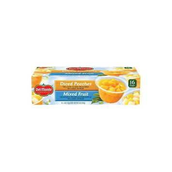 Del Monte Fruit Cups Snacks, Diced Peaches, Mixed Fruit (4 oz. cup, 16 ct.)