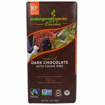 Endangered Species Chocolate, Intense Dark Chocolate with Cacao Nibs, 3 oz (pack of 2)