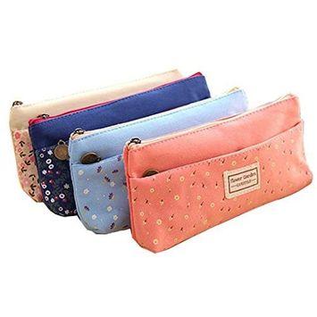 FEITONG 1PC Random Color Lovely Cute Multi-Fuctional Pencil/Pen Case Bag Pounch Cosmetic Makeup Bag Case