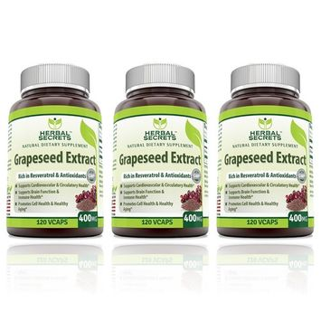 Herbal Secrets Grapeseed Extract 400mg 120 Veggie Capsules - (Pack of 3)