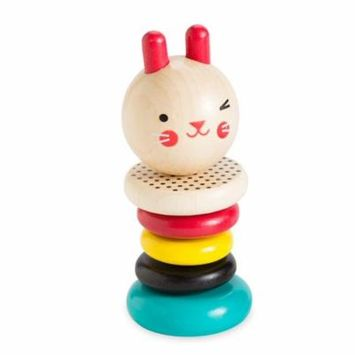Colorful Modern Easter Bunny Rattle with Five Smooth Beech Wood Rings