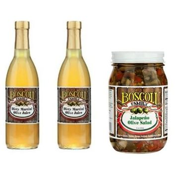 Boscoli Olive Juice, 12.7 oz (2 Pack) & Boscoli Olive Salad Jalapeno 16 oz (Variety Pack)
