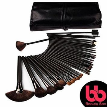 Beauty Bon 32 Piece Makeup Brush Set with Wood Handles Free Brush Holder