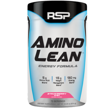 RSP AminoLean - Pre Workout, Fat Burner, Weight Loss, Amino Energy, Strawberry Kiwi, 70s