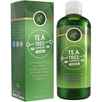 Sulfate Free Tea Tree Shampoo Dandruff Treatment for Women & Men with Pure Rosemary + Jojoba Oils - Healthy Scalp Cleanser for Colored Dry + Oily...