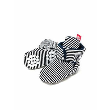 Wrapables® Fleece Baby Booties with Anti-Skid Bottoms, Black Stripes, 6-12 M [name: shoe_size value: shoe_size-6-12m]