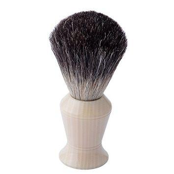 CSB Pure Black Badger Hair Shaving Brush with Faux Ivory Handle Men's Beard Shave Brush
