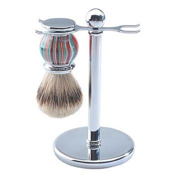 CSB Men's Shaving Set, Silvertip Badger Hair Shaving Brush, Shaving Stand, Chrome