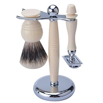 CSB Men's Grooming Shaving Kit Faux Ivory Handle Two Band Hair Shaving Brush and Safety Razor