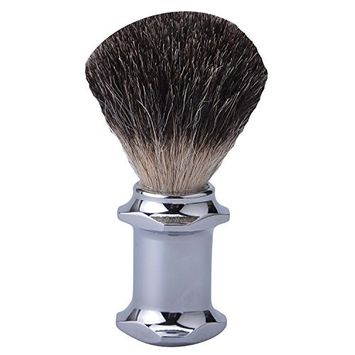 CSB Black Badger Hair Shaving Brush with Polished Chrome Metal Long Handle Shave Brush
