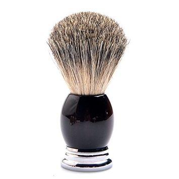 CSB Pure Badger Hair Bristles Shaving Brush Dark Tortoise Shell Resin Handle with Metal Base Beard Brush