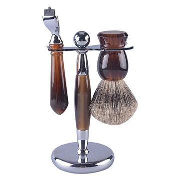 CSB Men's Shaving Kit Faux Tortoise Shell Handle Pure Badger Hair Shaving Brush and Mach3 Razor Set