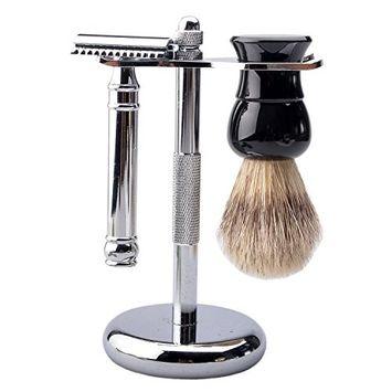 CSB Bristle Shaving Brush,Stand and Double Edge Razor Grooming Set for Men Shaving Boar Hair Brush