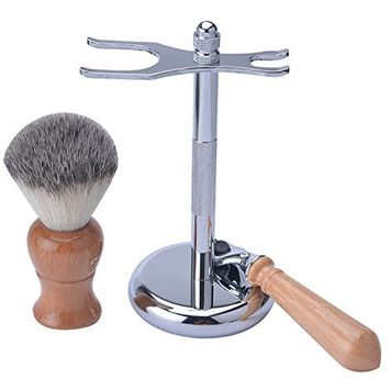 CSB Men's Grooming Shaving Kit Wooden Handle Synthetic Hair Shaving Brush Mach3 Razor Set