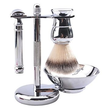 CSB 5 Piece Shaving Gift Set - Includes Synthetic Hair Shaving Brush,Double Edge Safety Razor,Chrome Stand,Shaving Soap Bowl and 5 Replacement Blades